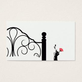 Rosa do rosa do cartão de visita da cama & do