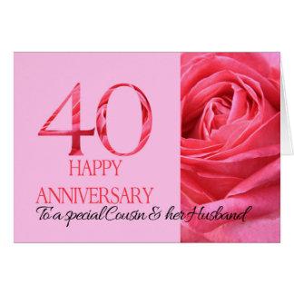 Rosa do rosa do cartão do aniversário do primo & d