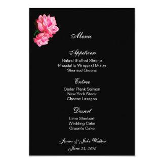 Rosa do rosa do cartão do menu convite 12.7 x 17.78cm