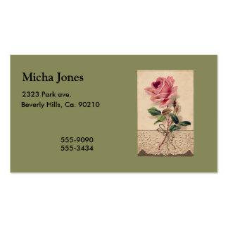 Rosa do rosa & vintage romance floral do laço cartoes de visitas