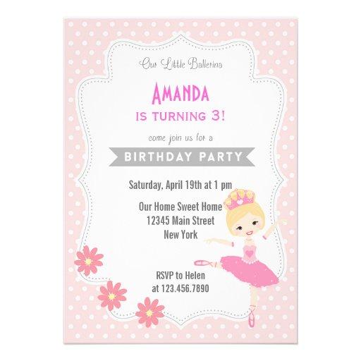 Rosa doce do convite do aniversário da bailarina