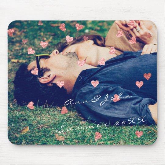 Rosa doce dos corações do verão do nome da foto do mouse pad