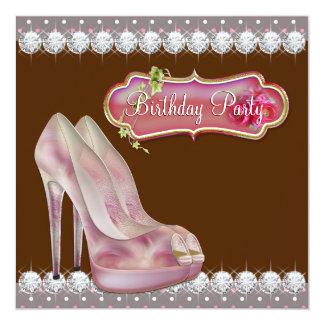Rosa dos calçados do salto alto & festa de convite quadrado 13.35 x 13.35cm