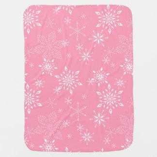 Rosa dos flocos de neve mantas para bebe