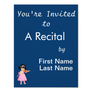rosa dress.png da rapariga do jogador do violino convite 10.79 x 13.97cm