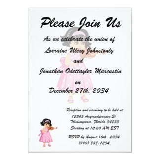 rosa dress.png da rapariga do jogador do violino convite 12.7 x 17.78cm
