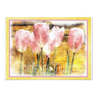 Rosa e amarelo - primavera é para tulipas - convite 12.7 x 17.78cm