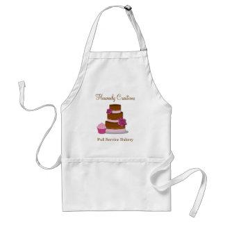 Rosa e avental do negócio da padaria dos deleites