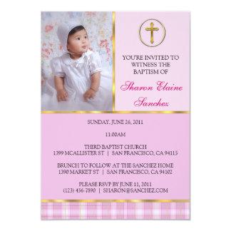 Rosa e baptismo do ouro/convite do batismo convite 12.7 x 17.78cm