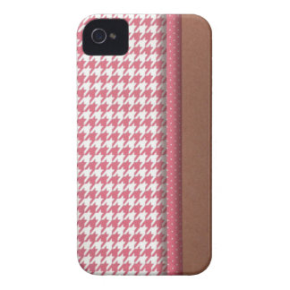 Rosa e Brown Houndstooth Capinhas iPhone 4