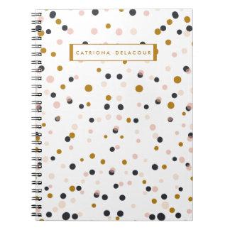 Rosa e caderno personalizado confetes do ouro