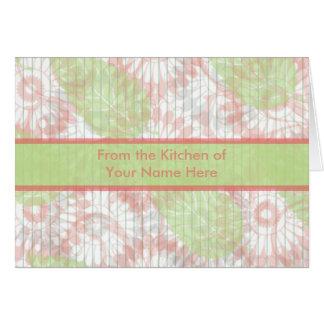 Rosa e cartão personalizado verde da receita