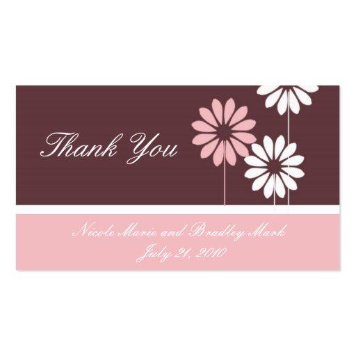 Rosa e cartões de agradecimentos do casamento da m cartões de visitas