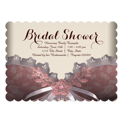 Rosa e chá de panela do espartilho de Brown Convites Personalizados