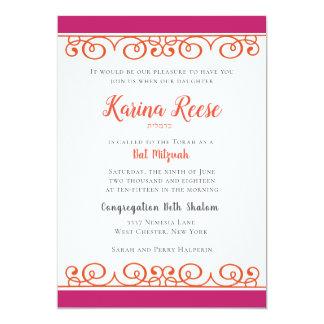 Rosa e convite encaracolado alaranjado de Mitzvah