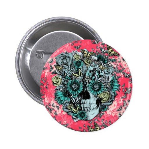 Rosa e crânio floral azul boton