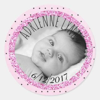 Rosa e etiqueta personalizados da foto do bebê de