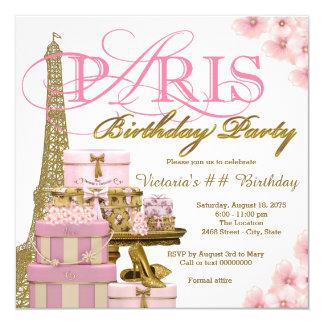 Rosa e festa de aniversário de Paris do ouro Convite Quadrado 13.35 X 13.35cm