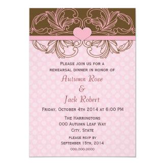 Rosa e jantar de ensaio do casamento de Brown Convites