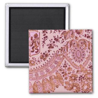 Rosa e laço do ouro ímã quadrado