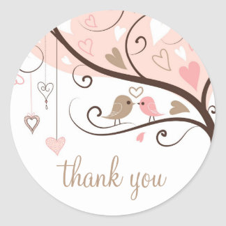 Rosa e Lovebirds de Brown que Wedding o obrigado Adesivo