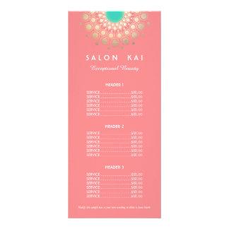 Rosa e menu da tabela de preços do motivo do 10.16 x 22.86cm panfleto