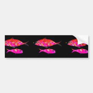 Rosa e peixes psicadélicos vermelhos adesivo para carro