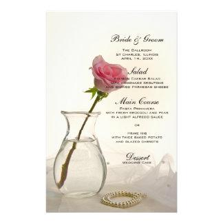 Rosa e pérolas do rosa que Wedding o menu Papéis Personalizados