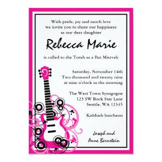Rosa e preto de Mitzvah do bastão da guitarra da Convite 12.7 X 17.78cm