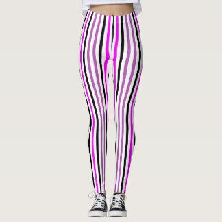 Rosa e preto Stripes2 vertical Leggings