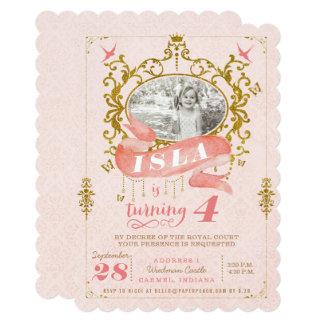 Rosa e princesa convites de festas de aniversários