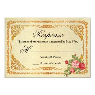 Rosa e rosas vermelhas do vintage que Wedding o Convite 8.89 X 12.7cm