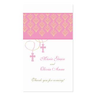 Rosa e Tag do favor do baptismo do ouro - gêmeos Modelos Cartões De Visita