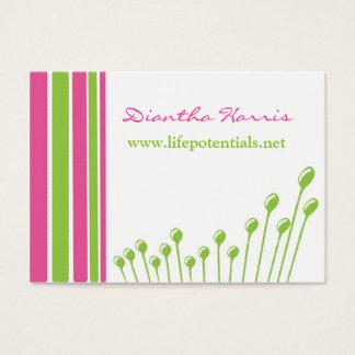Rosa e verde modernos cartão de visitas