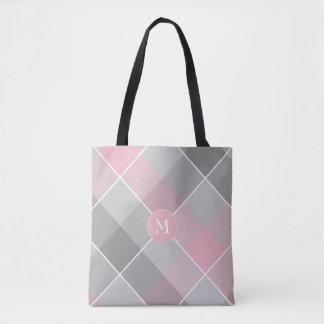 rosa e xadrez checkered cinzenta bolsa tote
