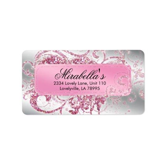 Rosa elegante do brilho do maquilhador do salão de etiqueta de endereço