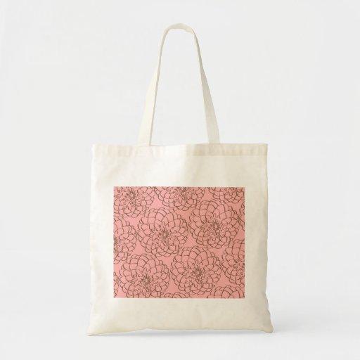 Rosa elegante e desenho de esboço da flor de Brown Bolsa De Lona