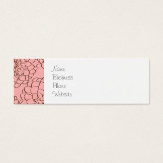 Rosa elegante e desenho de esboço da flor de Brown Cartão De Visitas Mini
