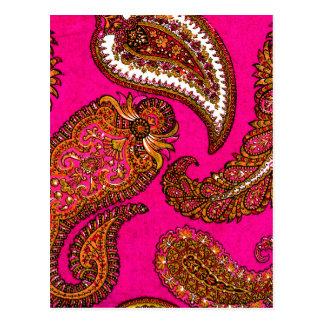 Rosa elétrico de Paisley do indiano de Fuscia Cartão Postal