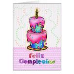 Rosa espanhol do bolo de aniversário do cartão comemorativo