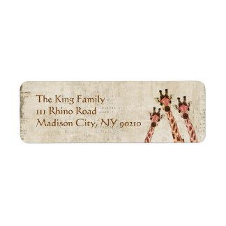 Rosa & etiqueta de endereço de cobre dos girafas