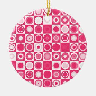rosa fabuloso dos anos 60 ornamento de cerâmica redondo