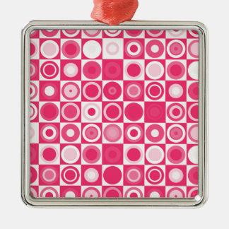 rosa fabuloso dos anos 60 ornamento quadrado cor prata