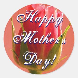 Rosa feliz do rosa do dia das mães adesivo