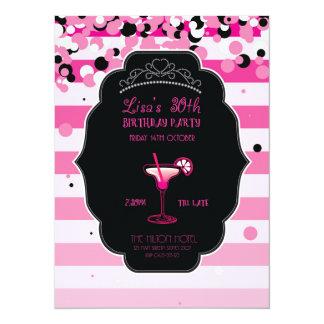 Rosa - feminino - adulto - convite de aniversário