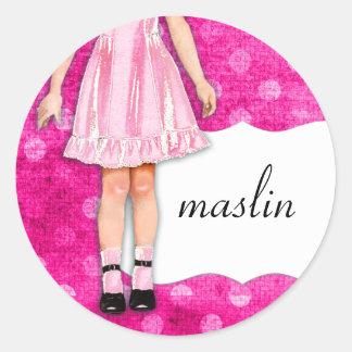 Rosa feminino da boneca da menina do GC | Adesivo