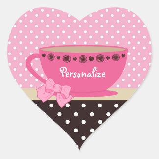 Rosa feminino do Teacup e bolinhas de Brown Adesivo De Coração