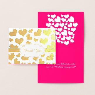Rosa feminino dos corações e doce dezesseis do cartão metalizado