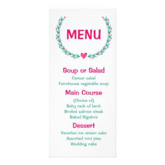 Rosa floral da aguarela do menu & grinalda de