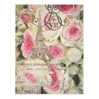 Rosa floral do rosa de Paris do vintage chique Cartão Postal